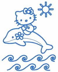Hello Kitty On Dolphin embroidery design