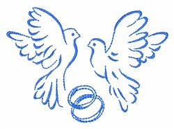Doves And Wedding Rings embroidery design