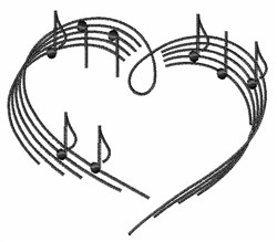 Music Note Heart embroidery design