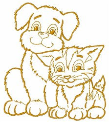 Puppy and Kitten embroidery design