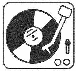 Record Player embroidery design