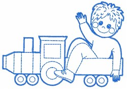 Toy Train and Child embroidery design