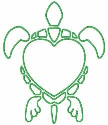 Turtle Love embroidery design