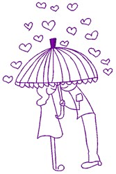 Rainy Day Couple In Love embroidery design
