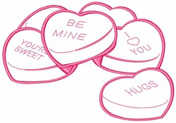 Conversation Candy Hearts embroidery design
