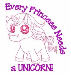 Princesses Need Unicorns embroidery design