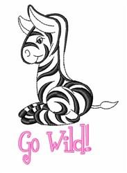 Go Wild Zebra embroidery design