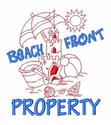 Beach Front Property embroidery design