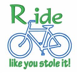 Bike Ride embroidery design