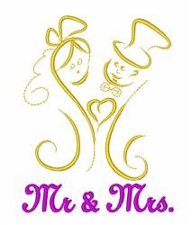 Mr & Mrs Wedding embroidery design