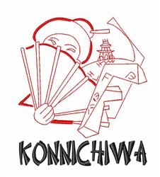 Konnichiwa Geisha embroidery design