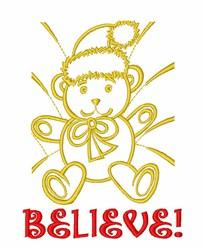 Believe Christmas Bear embroidery design
