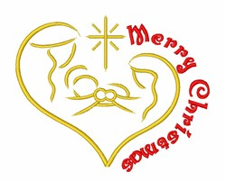 Merry Christmas Nativity embroidery design