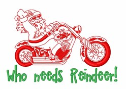 Santa Riding Motorcycle embroidery design