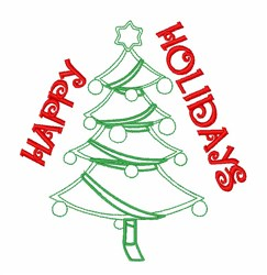 Happy Holidays Tree embroidery design