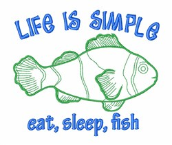 Life Simple Fish embroidery design