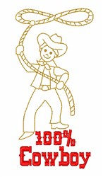 100% Cowboy Roper embroidery design