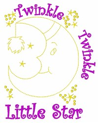 Moon Twinkle Star embroidery design