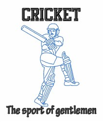 Cricket Gentleman embroidery design