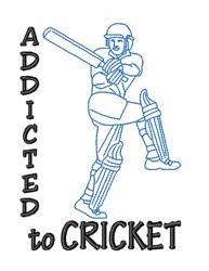 Cricket Addict Man embroidery design