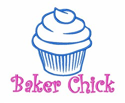 Baker Chick Cupcake embroidery design