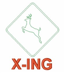 Deer X-ing Sign embroidery design