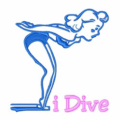 I Dive Girl embroidery design