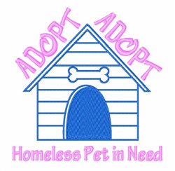 Dog House Adopt embroidery design