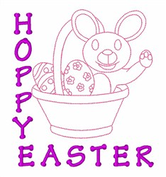 Hoppy Easter Basket Bunny embroidery design