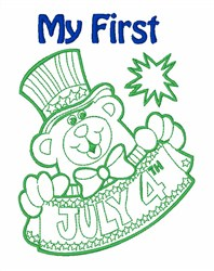 July 4th Celebration Baby Bear embroidery design
