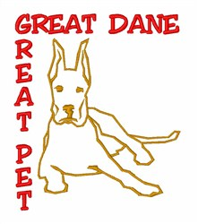 Great Dane Great Pet embroidery design