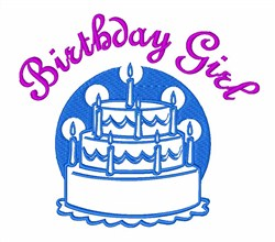 Birthday Girl Cake embroidery design