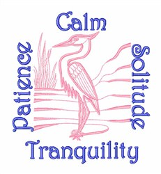 Tranquil Heron embroidery design