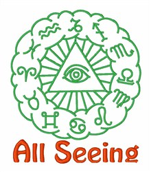 All Seeing Zodiac Symbol embroidery design