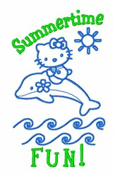Hello Kitty Dolphin embroidery design