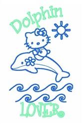 Hello Kitty Dolphin embroidery design