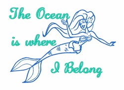 Ocean Mermaid Sea embroidery design