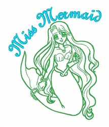 Mermaid Princess Girl embroidery design
