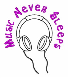 Music Never Sleeps embroidery design