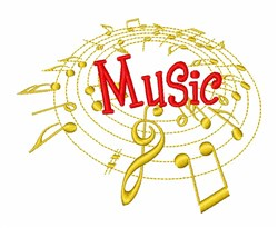 Lively Musical Notes embroidery design