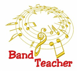 Band Teacher Music Notes embroidery design