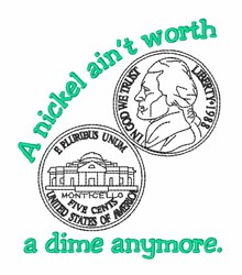 5 Cents Nickel Money embroidery design