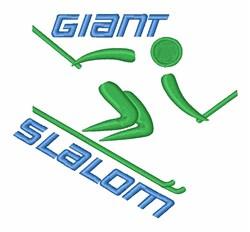Giant Slalom Skiing embroidery design