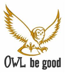 Wise Owl Night Bird embroidery design