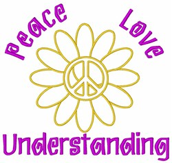 Flower Girl Peace Sign embroidery design