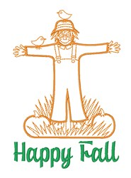 Scarecrow Happy Fall Thanksgiving embroidery design
