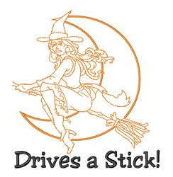 Witch Drives Stick embroidery design