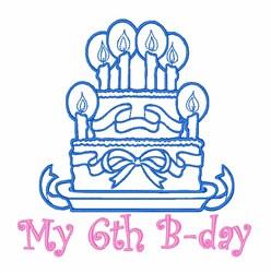6th Birthday Cake embroidery design