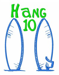 Surfboard Hang 10 embroidery design
