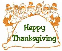 Thanksgiving Family Pilgrims embroidery design